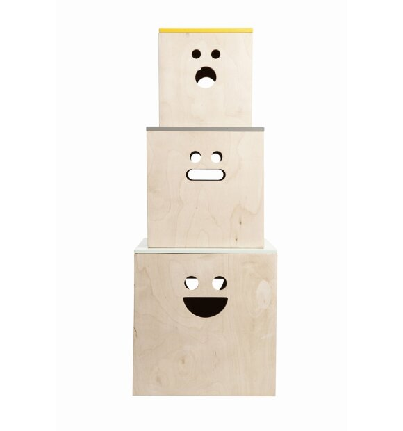 ferm LIVING - 3 stk. Face Plywood boxes
