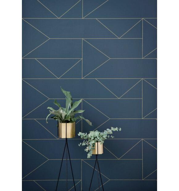 ferm LIVING - Tapet, Lines, mørkeblå