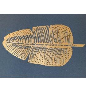 Monika Petersen Art Print - Fjer guld blå A4