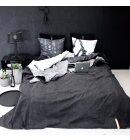 Louise Smærup - Sengetæppe, Canvas,lysgrå/sort, 260x260