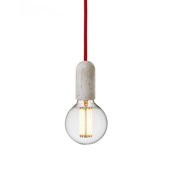 NUD Collection - Beton/Rød E27