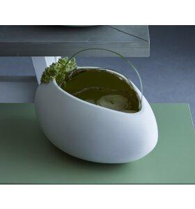 Ment - Krum Æggevase, hvid/lysegul