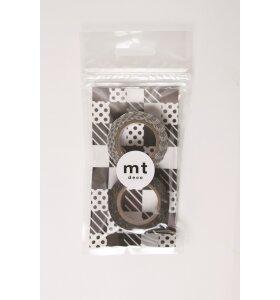 mt - Masking Tape - 2pk Black dot og black stripe