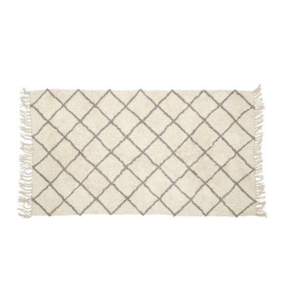 Hübsch - Tæppe bomuld, hvid/grå