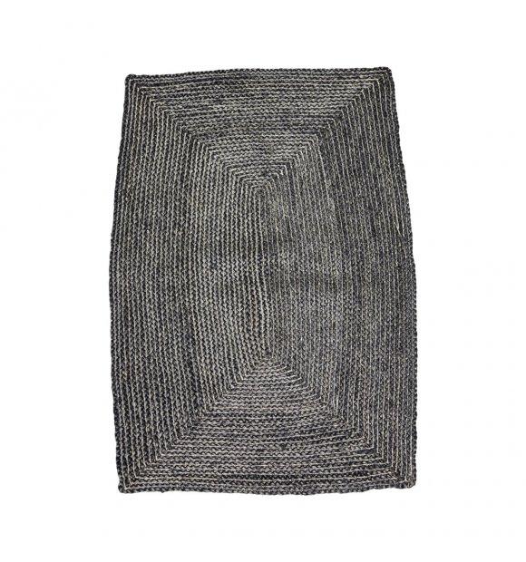 House Doctor - Tæppe Structure, sort/grå 85*130