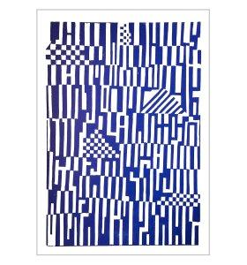 Monika Petersen Art Print - Mønster Blå/hvid 50x70