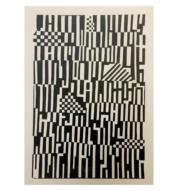 Monika Petersen Art Print - Mønster Sort/creme 50x70