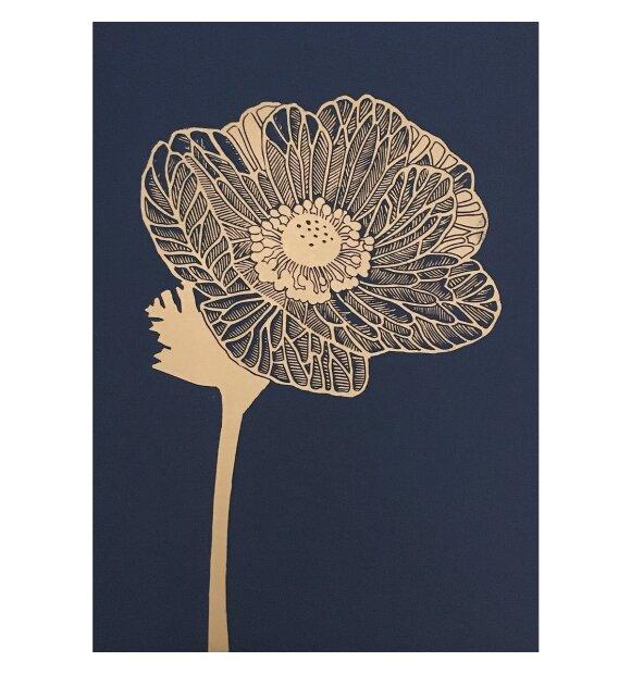 Monika Petersen Art Print - Anemone Guld/indigo 50*70