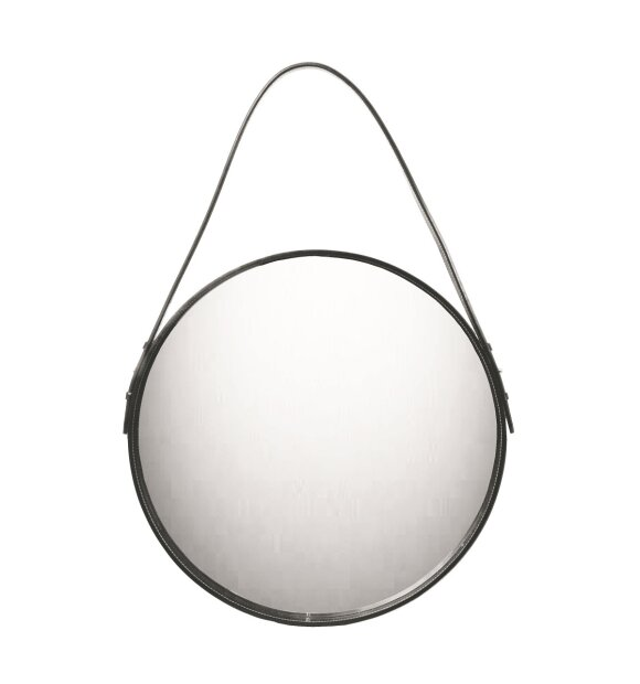 Ørskov - Rundt spejl, sort læderrem