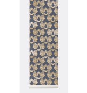 ferm LIVING - Birds Tapet, Blå/guld