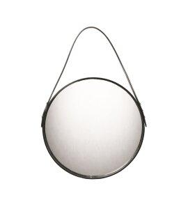 Ørskov - Rundt spejl med sort læderrem, Ø:40