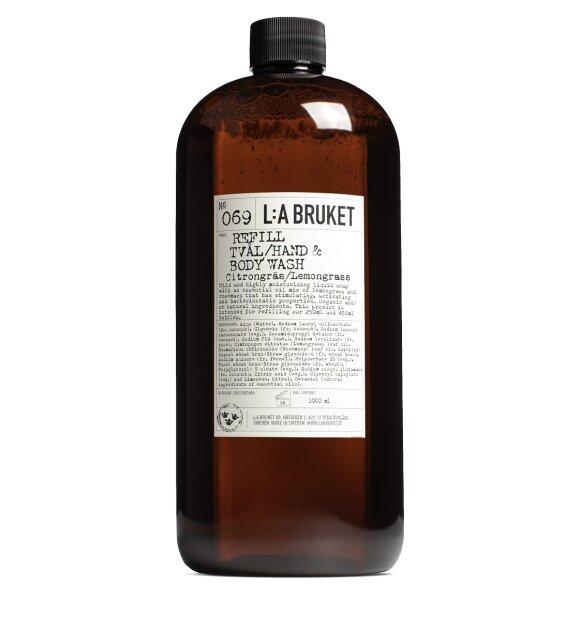 L:A Bruket - Refill sæbe no 069, Citrongræs/lemongrass 1 liter