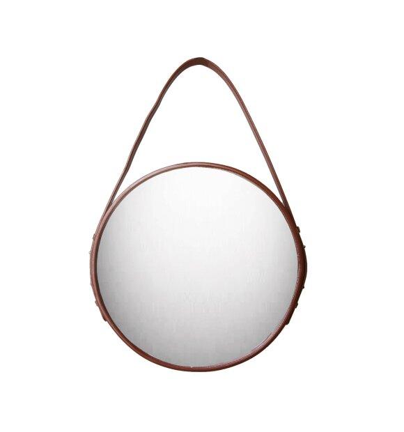 Ørskov - Rundt spejl med cognacfarvet læderrem
