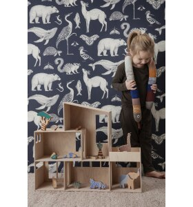 ferm LIVING Kids - Tapet Katie Scott, Animal Mørkeblå