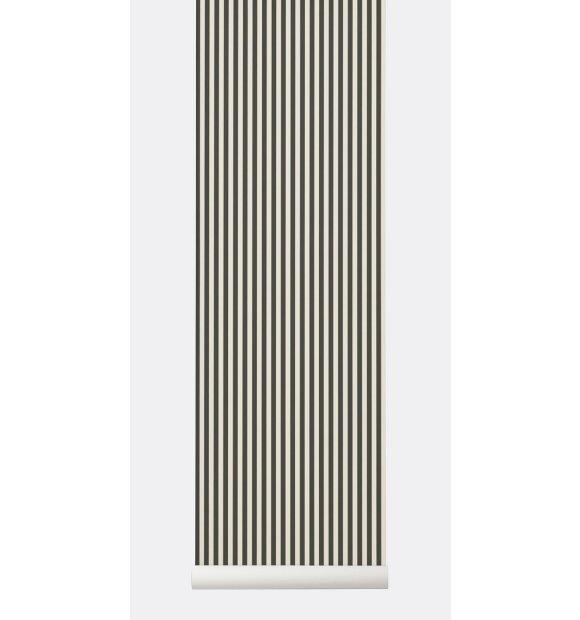 ferm LIVING - Tapet Thin Lines, Grøn/offwhite