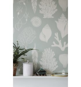 ferm LIVING - Tapet Katie Scott, Shells Aqua/Mint