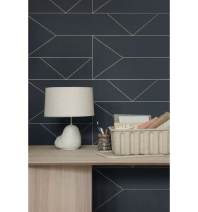 ferm LIVING - Tapet Lines, Grafit