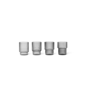 ferm LIVING - 4 Ripple glas små, Smoke