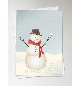 Vissevasse - Snowman, Julekort med konvolut