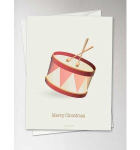 Vissevasse - Merry Christmas tromme, Julekort med konvolut
