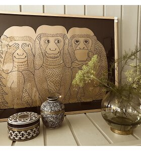 Monika Petersen Art Print - 3 Monkeys, Guld/brun