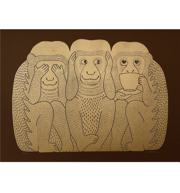 Monika Petersen Art Print - 3 Monkeys, Guld/brun