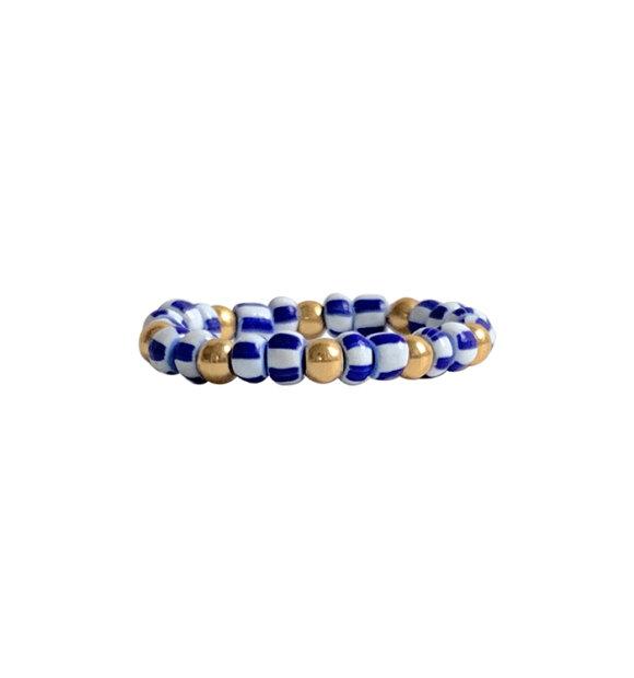 IBU Jewels - Ring Blå/Hvid