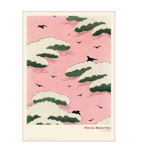 Permild og Rosengreen - Pink Sky - Japansk Træsnit, 50*70