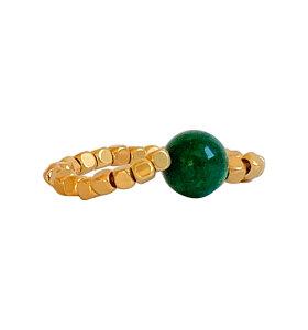 IBU Jewels - Fingerring Peggy, Grøn agat