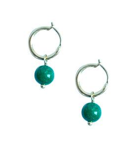 IBU Jewels - Øreringe Mini Hoop, Grøn agat