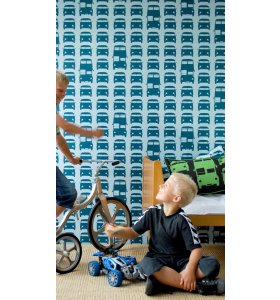 ferm LIVING Kids - Tapet, Rush Hour, blå